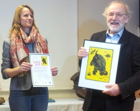 Dr. Simone Leinkauf und Dr. Edmund Jacoby bei der Preisübergabe